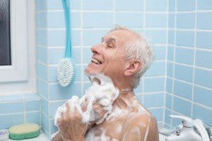 While soap and water gets us clean, it also provides a slipper surface and potential hazards.