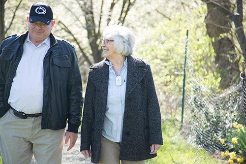 Senior Couple Using Medical Guardian Mobile Device