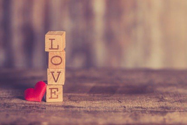 heart, love, wooden letter cube